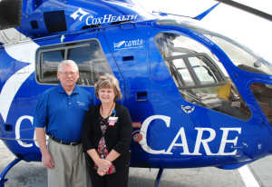 New Flight Chaplain Larry Cooper, Cox Air Care, with Susan Crum, Cox Air Care Program Director.